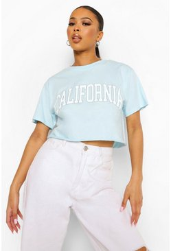 Blue California Printed Cropped T-shirt