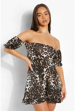 Brown Leopard Print Off The Shoulder Playsuit