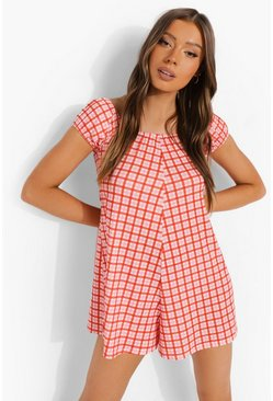 Pink Check Bardot Swing Playsuit