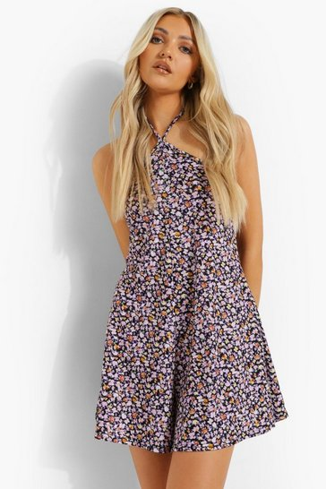 Lilac purple Floral Halterneck Swing Playsuit
