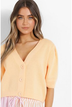 Puff Sleeve Crop Cardigan, Apricot color carne
