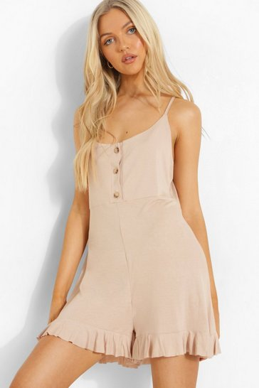 Stone beige Button Up Strappy Smock Playsuit