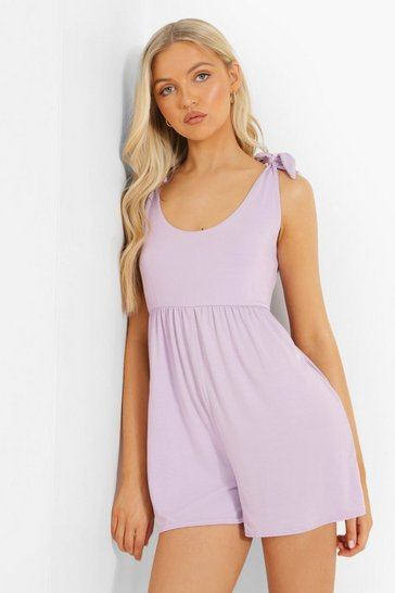 Lilac purple Scoop Neck Smock Playsuit
