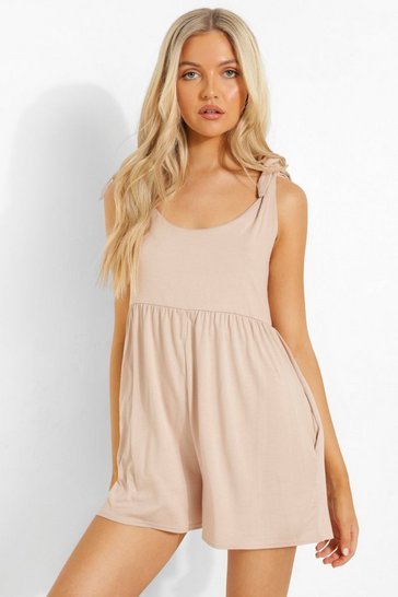 Stone beige Scoop Neck Smock Playsuit