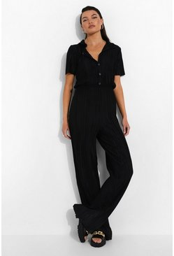 Black Plisse Button Down Jumpsuit