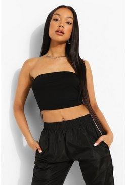 Black Basic Jersey Bandeau