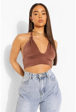Chocolate brown Twisted Strap Halter Top