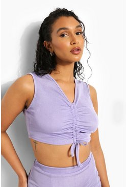 Purple Recycled Ribbed Ruched Crop Top