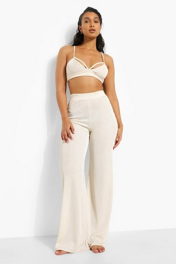 Cream white Recycled Ribbed Wide Leg Trouser