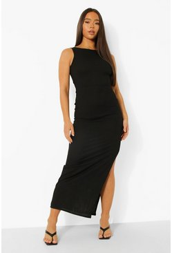 Black Tonal Rib Twist Cut Out Back Maxi Dress