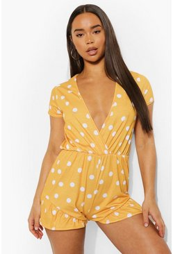 Polka Dot Plunge Neck Flippy Playsuit, Mustard gelb