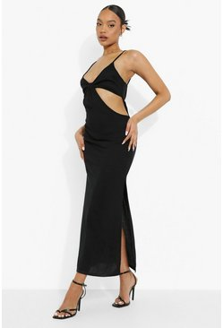 Black Tonal Rib Cut Out Maxi Dress
