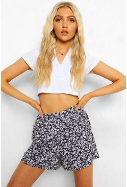 Black Ditsy Floral Print Flippy Short