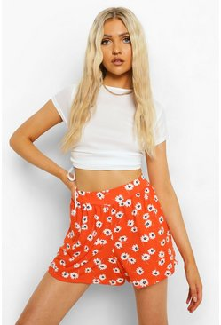 Red Floral Print Flippy Short