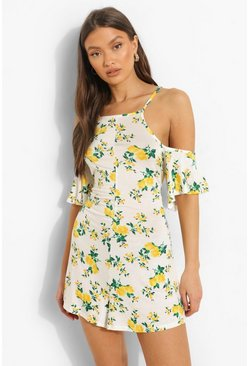 White vit Småblommig playsuit med cold shoulder-detalj