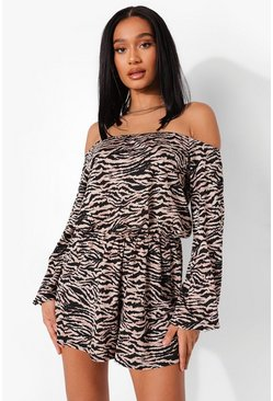 Black Zebra Print Off The Shoulder Playsuit