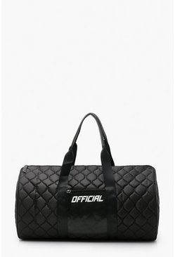 Black Official Quilted Sports Duffle Bag