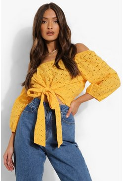 Mustard Broderie Tie Front Off Shoulder Top