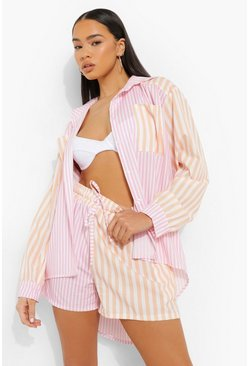 Pink Contrast Stripe Relaxed Fit Shirt