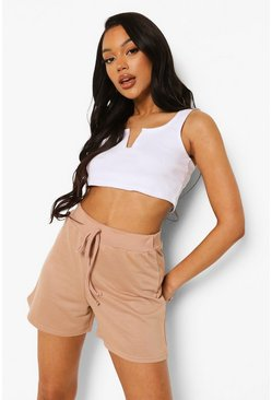 Stone beige Loopback Drawcord Shorts