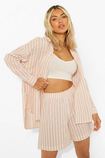 Peach orange Linen Look Pastel Stripe Relaxed Fit Shorts