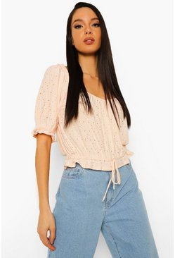 Peach orange Broderie Peplum Short Sleeve Top
