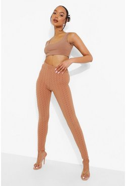 Mocha beige Textured Sculpt Leggings