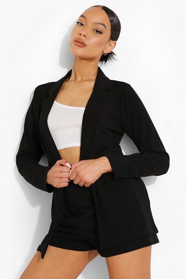 Black Neon Blazer & Self Fabric Belt Shorts