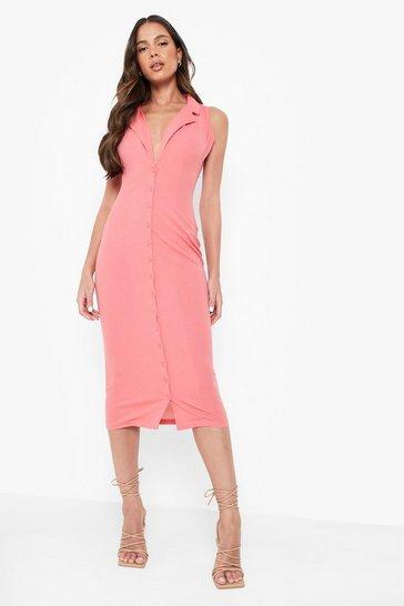 Coral pink Midaxi Shirt Dress