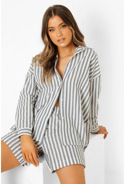 Grey Linen Look Chunky Stripe Oversized Shirt