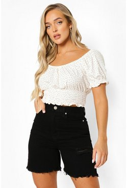 White Mini Polka Dot Puff Sleeve Crop Top