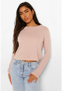 Blush pink Long Sleeve Oversized T Shirt