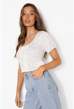 White Broderie Lace Up Puff Sleeve Top