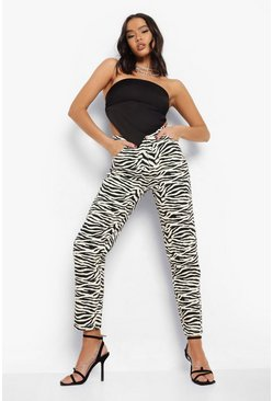 Ecru white  High Waist Zebra Print Mom Jeans