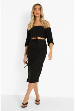 Black Broderie Jersey Ruched Midi Skirt