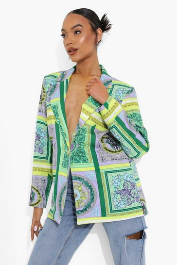 Emerald green Scarf Print Tailored Blazer