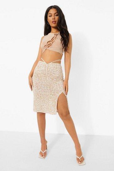 Stone beige Strappy V Waist Leopard Midi Skirt