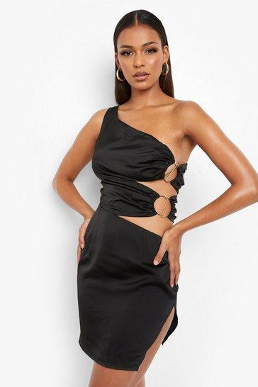 Black One Shoulder Cut Out Mini Dress