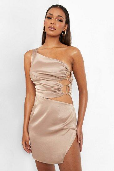 Mocha beige Brown One Shoulder Cut Out Mini Dress