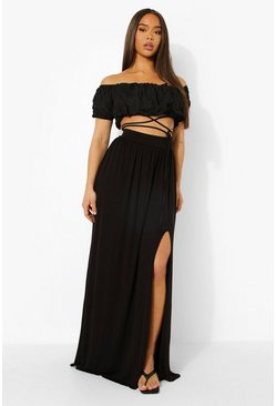 Black Floor Sweeping Split Leg Maxi Skirt