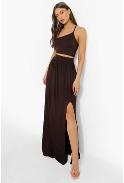 Chocolate brown Floor Sweeping Split Leg Maxi Skirt