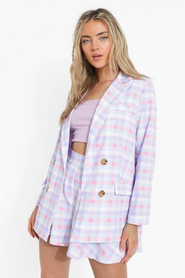 Lilac purple Pastel Check Double Breasted Blazer