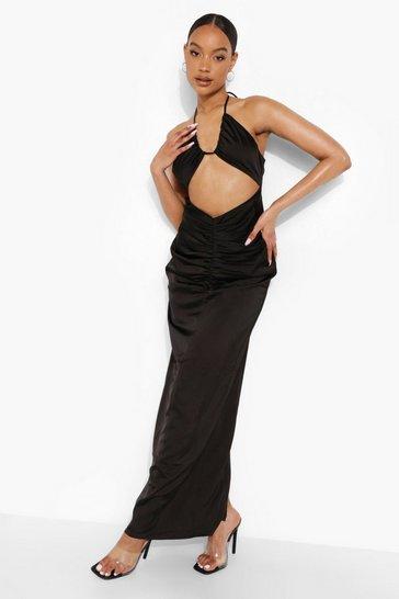 Black Satin Cut Out Strappy Maxi Dress