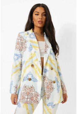 Blue Scarf Print Tailored Double Breasted Blazer