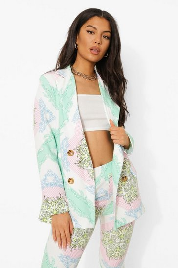 Mint green Scarf Print Tailored Double Breasted Blazer