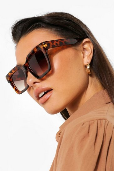 Brown Super Chunky Tort Square Sunglasses