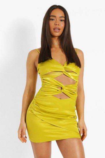 Chartreuse yellow Satin Cut Out Twist Mini Dress