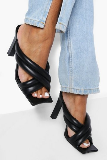 Black Double Cross Over Heeled Mules