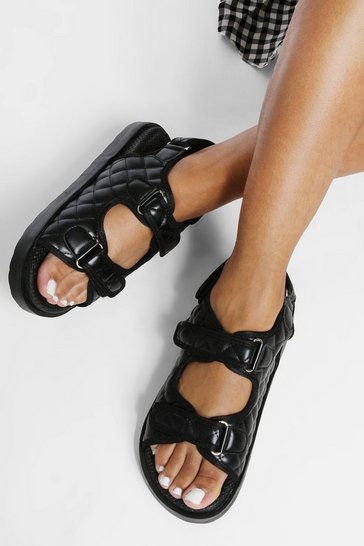 Black Wide Fit Quilted Sporty Dad Sandal
