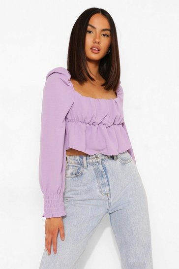 Lilac purple Purple Linen Rouched Bust Long Sleeve Crop Top